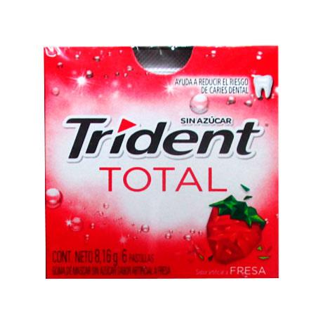 Chicle Trident Total Fresa Sin Azúcar X 6 Pastillas