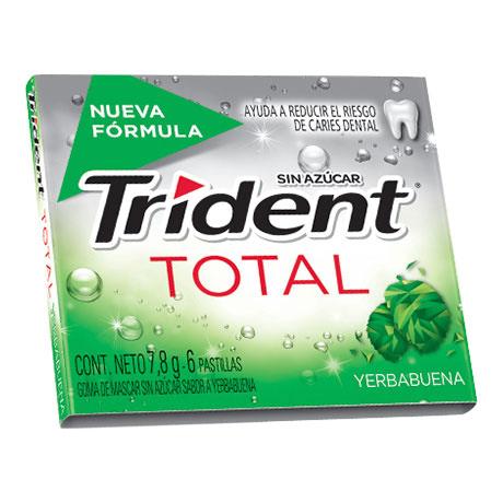 Chicle Trident Total Yerbabuena Sin Azúcar X 6 Pastillas