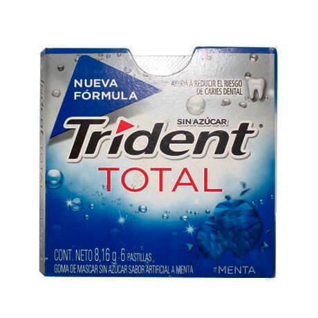 Chicle Trident Total Menta Sin Azúcar X 6 Pastillas